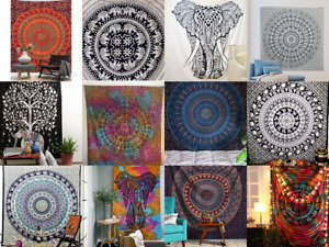 Tie Dye Elephant Print Mandala Tapestry Beach Blanket, Table Cloth,Yoga Mat