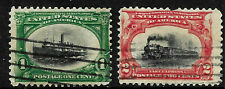 Sc #294 295 Pair Color Shift  Low Boat Low Train EFO Pan Am 2 Cent US 37B11
