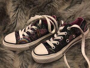 Converse T 28 : Baskets All Star Basses Noires Imprimées En TBE