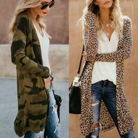 Women's Loose Long Sleeve Cardigan Leopard Kimono Shawl Tops Blouses Coat Jacket