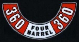 MOPAR 1972-1974 360 Four Barrel Air Cleaner Decal