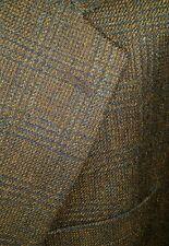 Mohair Tweed Plaid Blue & Tan HAIRY 46L Blazer Jacket Sport Coat harris donegal