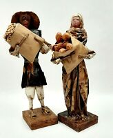 Vintage Paper Mache Mexican Folk Art Figures Hand Made Village People Abuelos