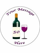 """Novelty Personalised Wine Bottle & Glass  7.5"""" Edible Wafer Paper Cake Topper"""