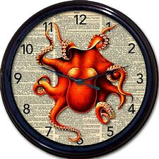 Steampunk Octopus Dictionary Wall Clock Victorian Goth Gothic Vintage Creature