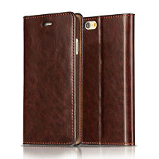 Luxury Genuine Leather Wallet Card Slot Case Flip Cover Skin For Apple Samsung