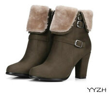 Women Ankle Boots Winter Suede Plush Plus Size Side Zipper High Thick Heel Shoes
