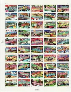 GREETINGS FROM AMERICA STAMP SHEET -- USA #3696-#3745 37 CENT  50 STAMPS