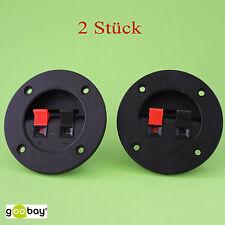 2 Stück Lautsprecher Terminal, 2 pol. Klemmleiste LK 02 R rot schwarz, rund (189