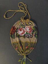 Antiker Perlenbeutel - Damentasche Rosendekor