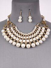"16"" gold pearl choker bib collar necklace .75"" earrings bridal"