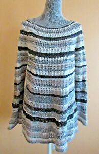 Womens crochet knit XL Style & Co long sleeve top blouse sweater