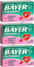 Bayer Chewable Low Dose 'Baby' Aspirin 81 mg Tablets Cherry 36 Tablets (3 pack)