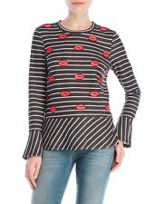 Nanette Lepore Kiss Lips Beaded Long Sleeve Striped Shirt Top NWT Sz S MSRP $59