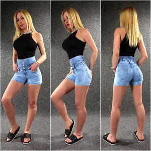 Damen Jeans Shorts High Waist Bermudas XS S M L XL ZAZOU Sommer Hose kurz YS105