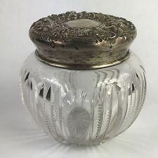 Antique Sterling Silver Crystal Glass Powder Jar