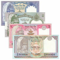 Nepal 4 PCS Banknotes Paper Money Collect 1,2,5,10 Rupee NPR Real Currency UNC