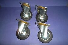 "4 X 4"" 100mm HEAVY DUTY SWIVEL CASTORS WHEELS SET LOADING 30kg"