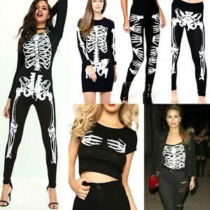 Women's Ladies Halloween Skeleton Legging Crop Top Jumpsuit Bodysuit Costume UK
