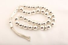 Sacred! 925 Sterling Silver Islamic Prayer 33 Beads Turkish Jewelry Tesbih
