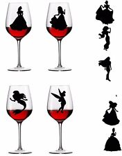 Complete set of Disney Princesses, tinkerbell,  Vinyl Decal Wine Glass stickers