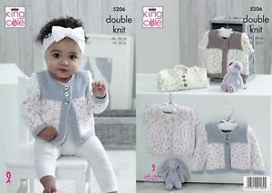 King Cole 5206 Knitting Pattern Baby Cardigans Cottonsoft Candy & Conttonsoft DK