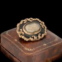 Antique Vintage Victorian Gold Filled GF Rococo Mourning Hair Pin Brooch 8.5g