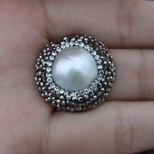 25MM Natural White Mabe Pearl Ring