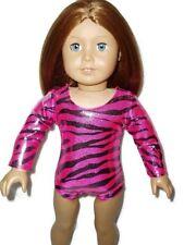 "Zebra Leotard fits American Girl Dolls Gymnastics 18"" Doll Clothes Pink Black"