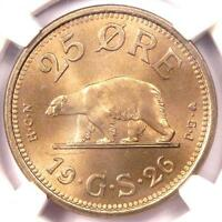 1926 HCN GJ Greenland 25 Ore (25O) - NGC MS65 - Rare Gem BU Polar Bear Coin