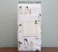 NEW Pottery Barn Kids WINTER PENGUIN Organic Flannel Crib Fitted Sheet WHITE