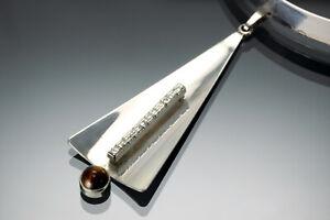 Halsreif echtes Silber 800 Anhänger modernist Schmuck Halskette 60er 70er Design