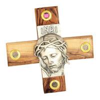 "Carved Handmade Olive Wood Cross Jesus INRI with Holy Soil & Incense 5.5""/14cm"