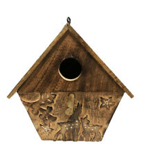 Novelty Wooden Garden Hanging Bird House Nesting Box Handmade From Mango Wood