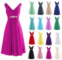 Short Bridesmaid Dresses Formal Chiffon Wedding Party Evening Prom Cocktail Gown