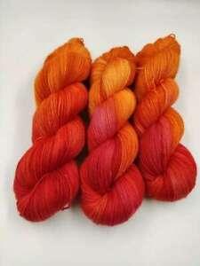 Handgefärbte Sockenwolle 4 fach 100 g - ROTES ORANGE  5481