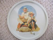 Collectible Norman Rockwell Tray Grandpa & Grandson Catching Fish (#0599)