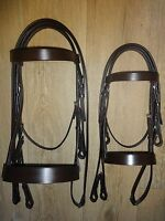 QUALITY LEATHER HUNTER CAVESSON BRIDLE WIDE NOSEBAND BLACK and HAVANA ALL SIZES