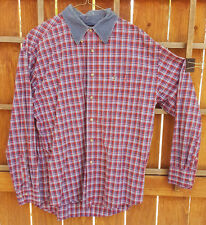 PBR Western Rodeo Shirt-Red Blue Plaid-Button Up-L-Cowboy Bull Riding Ranch Ctry
