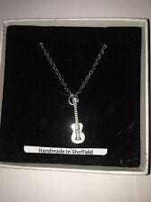 """Ukelele PP- Emblem Silver Platinum Plated Necklace 18"""""""