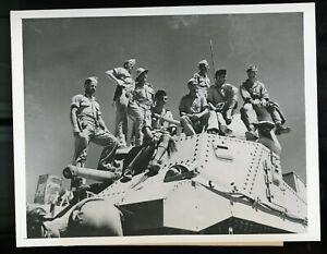 WWII Wire Service Photo British American Tank Crews North Africa Atop Tank