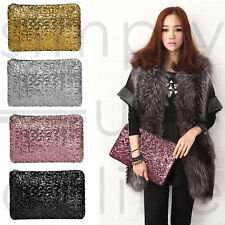 Womens Ladies Glitter Sparkling Sequins Handbag Evening Party Clutch Bag Purse