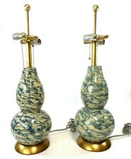 "Safavieh Color Swirls Table Lamp Set of 2 Blue Beige 28"" No Shades EUC"