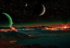 "CHOIS WM9028 Space Wall Mural Planets Satellite Star Lake wallpaper 100"" x 145"""