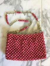 "Pink Vintage Beaded Purse Handbag 9""x6"" - wooden beads - 1960s"
