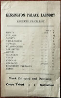 Kensington Palace Laundry Reduced Price List, Early to Mid 1900's
