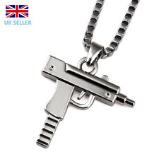 Silver Plated Unisex Mens Machine Gun Pendant Necklace Long Chain Jewellery
