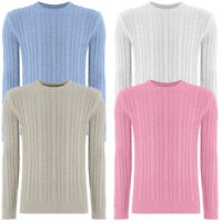 New Womens Ladies Cable Knitted Jumper Sweater Top Round Neck Beautiful Colors