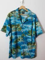 Quicksilver Men's Hawaiian Shirt Size L Mesh Knit Blue Beach Palm Trees