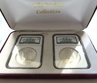1922 & 1923 Silver Peace Dollar NGC MS 64 Binion Collection Pedigree Box Set